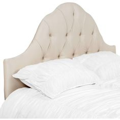 Eliza Headboard - Shantung ($449) ❤ liked on Polyvore featuring home, furniture, beds, arched headboard, tufted bed, tufted furniture, tufted arch headboard and tufted headboard