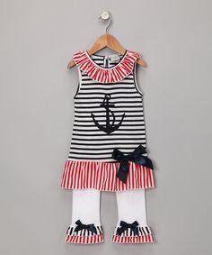 Blue Sailor Tunic & White Ruffle Pants - Toddler & Girls
