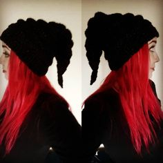 Awesome Elf Hat in Thestral by Bat's Woodland Wares on etsy #elfhat #pixiehat #pixiehood #elf #pixie #fae #faery #faerie #fairy #fairytale #faerytale #redhead #redhair #redhairdontcare