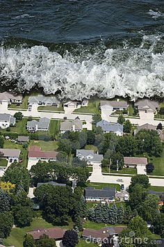Giant Tsunami Tidal Wave Natural Disaster Stock Photography - Image ...