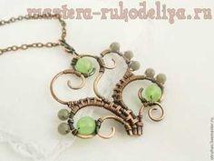 Master class on fashion jewelry wire: copper openwork pendant