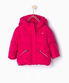 Zara Infant Girl Fuchsia Quilted Jacket with Hood Size 6 9 Months | eBay