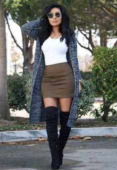 image of monica gabriela ( wearing outfit by dm boutique, cardigan by windsor - Fall Fashion Trends - Autumn Fashion And Outfit Ideas Cute Fall Outfits, Fall Winter Outfits, Fall Skirt Outfits, Outfits With Boots, Feminine Fall Outfits, Casual Outfits For Girls, Fall Skirts, Dress With Boots, Winter Boots