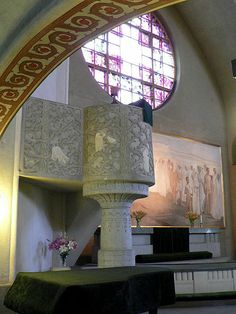 Pulpit of Tampere Cathedral in Tampere, Finland - Saarnastuoli, Tampereen tuomiokirkko - Kuva: Central Europe, Helsinki, Cathedral, Sconces, This Is Us, Wall Lights, Art Deco, Culture, Mirror