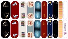 Custom designed Harry Potter nail wraps from the Jamberry Nail Art studio!  Use as inspiration to design your own.  www.kimd.jamberrynails.net