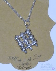 N-167  NoheaCreations. Silver. Beaded. Diamond Shaped. Pendant. Chain.Necklace.