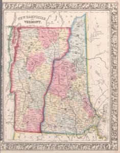 #NewHampshire and #Vermont. (1863) #map