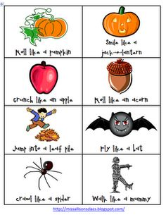 Miss Allison's Class: Fall and Halloween Gross Motor Movements FREEBIE -repinned by @PediaStaff – Please Visit ht.ly/63sNt for all our pediatric therapy pins