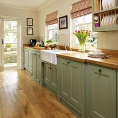 Like cabinet style and color - NO butcher block countertops tho! Green w/ butcher block countertops and farm sink