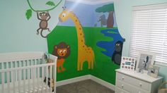 Safari themed wall mural #nurserydecor #karendianeart