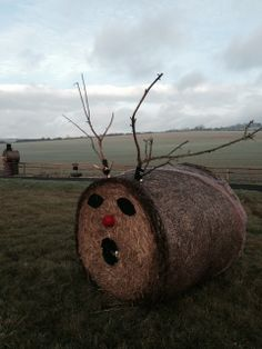 A hay bale reindeer to keep our snowman company.