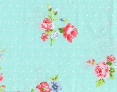 coupon tissu patchwork fleurs Liberty romantique shabby chic, bleu, rose, env. 40x50 cm