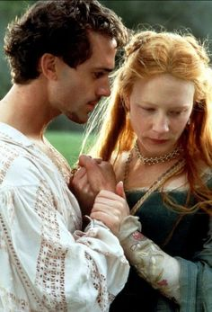 Elizabeth I and Robert Dudley (Elizabeth):    Specifically, the 1998 movie where Cate Blanchett was robbed at the Oscars! It took liberties with history, but I really liked how innocent and romantic Elizabeth was in the beginning of the film, and how Robert's love and his deception played a part in her lonely transformation into a queen. And it doesn't hurt that Robert's played by Joseph Fiennes…