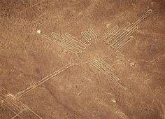 File photo of aerial view of Hummingbird figure at the Nazca lines south of Lima in Peru. So crazy...