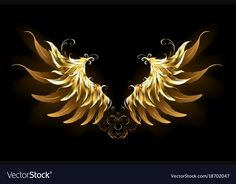 Shiny Angel Wings (Graphic) by · Creative Fabrica Gold Angel Wings, Angel Wings Png, Wings Drawing, Golden Wings, Wings Logo, Dark Backgrounds, Art Logo, Background Patterns, Clipart