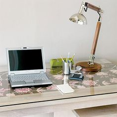 Glass desktop with the fabric beneath