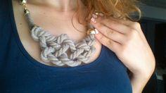 Handmade grey necklace with Celtic knot Celtic Knot, Handmade Necklaces, Crochet Necklace, Grey, Color, Jewelry, Fashion, Gray, Moda