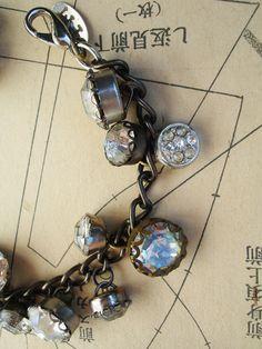 Rhinestone Button Bracelet Number 5 by PaulaMontgomery on Etsy, $90.00