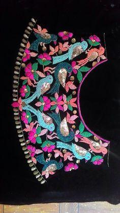 Pinterest • Bhavita Kukreja Zardozi Embroidery, Hand Work Embroidery, Embroidery Suits Design, Embroidery Motifs, Hand Embroidery Designs, Beaded Embroidery, Machine Embroidery, Kids Blouse Designs, Bridal Blouse Designs