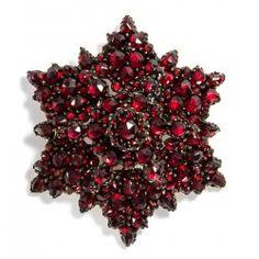 Um 1860: Antiker Granat Stern Anhänger & Brosche, böhmische Granate, Garnet Star