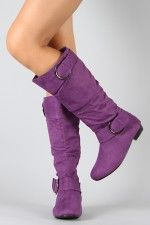 Tiffany-1 Buckle Slouchy Knee High Boot