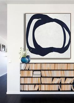 Hand-painted Navy blue and White Abstract Painting on canvas, minimalist art #NV313A by CZ Art Design @CelineZiangArt Minimalist Home Decor, Minimalist Painting, Modern Minimalist, Modern Home Interior Design, Loft, Navy Paint, Sculpture, Modern Hallway, Modern Library