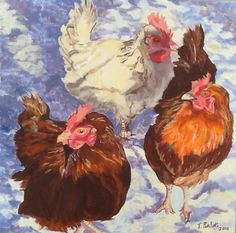 Hens in the Snow by HensintheOrchard on Etsy