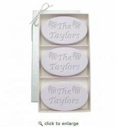 Signature Spa Lavender Trio: 3 Bars Presents Design - Personalized with Text