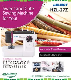 Juki HZL-27z Electric sewing machine | Looking for a portable, full-featured sewing machine? Then this is the machine for you. The HZL-27Z packs large features into a small footprint. With 22 stitch patterns, including a buttonhole, you'll find that the HZL-27Z can handle just about any sewing task | for more detail and prices please contact us via hassan@alborj.com | +971 52 6675388 | www.al-borj.com  #alborjmachineryllc #Juki #Domestic #SewingMachine #Professional #HouseHold #UAE #Dubai…