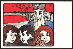 Ansichtskarte : Kinder avec Nikolaus, Künstler Brüder Kohn
