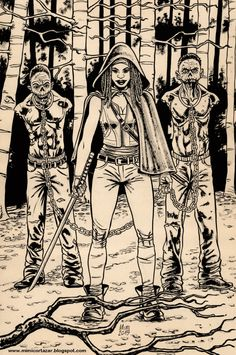 Michonne with walkers - Ink.