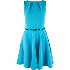 Closet Belted Skater Dress ($27) ❤ liked on Polyvore featuring dresses, clearance, turquoise, sleeveless skater dress, skinny belt, blue circle skirt, belted dress and flared skirt