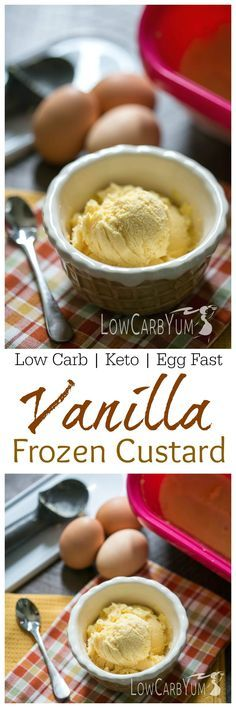 Dropping carbs is simple when you have a variety of low carb treats to enjoy. Only 0.7g carbs in this keto egg fast vanilla frozen custard ice cream dessert!   LowCarbYum.com