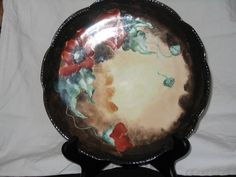 Decorative Plate France Dark Brown Trim Poppies Hand Painted
