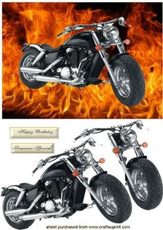 Harley Davidson Motor Bike With Flames on Craftsuprint designed by Nick Bowley - Harley Davidson Motor Bike With Flames just layer the decoupage pieces makes a great card for that special person - Now available for download!
