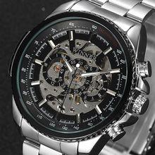 f6a940c5430 2017 Marca Top de Luxo Clássico À Moda Preto Relógio Dos Homens Homem de  Esqueleto Mecânico