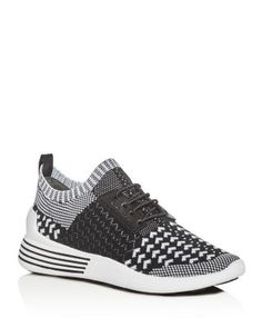 KENDALL AND KYLIE KENDALL AND KYLIE BRADY KNIT LACE UP SNEAKERS. #kendallandkylie #shoes #