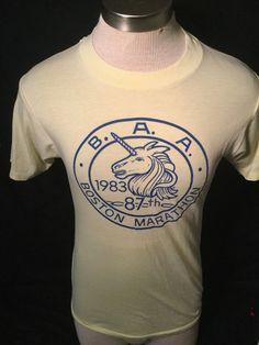 d9b4b12994061 Vintage 1980 s Boston Marathon Running T-Shirt 50 50 Thin and Soft UNICORN  by
