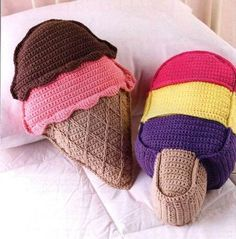 Crochet Ice Cream Cone Pillows and other cute ice cream patterns