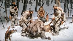 A recreation of Jōmon hunters with dogs from the Niigata Prefectural Museum of History