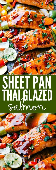 Sheet Pan Thai Glazed Salmon with Vegetables is an incredible all in one meal that has the best flavor. Melt in your mouth Salmon gets glazed with a sweet thai sauce and is surrounded by crisp and tender veggies. This meal is a winner! Salmon Dishes, Fish Dishes, Seafood Dishes, Main Dishes, Seafood Buffet, Fish Recipes, Seafood Recipes, Asian Recipes, Cooking Recipes