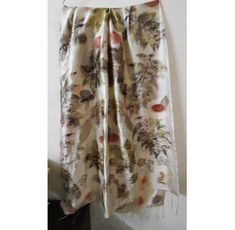 """Large Ecoprinted pure silk scarf, Hand Naturally dyed silk wrap shawls 80x165 cm (31.5""""x 65 """")- lovely gift for mum and friend"""