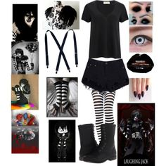 Laughing Jack Cosplay by bloodandglitter on Polyvore featuring American Vintage, Black Swan and Madden Girl