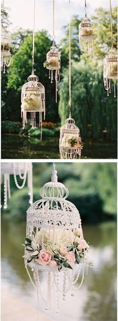 Bird cages as decor with flowers and ribbons. Perfect for a day event