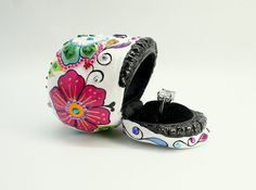 Skull super flower of the day of the dead skull ring by ibelief, $95.00