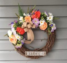 Spring Wreath for Front Door, Summer Wreath for Front Door, Welcome Wreath, Rustic Grapevine Wreath, Flower Wreath, Floral Wreath This wreath is so pretty and will be a great addition to your Spring or Summer Décor. The 18 inch grapevine wreath base is decorated with assorted