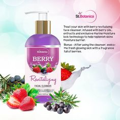 Berry Revitalizing Facial Cleanser 200ml Treat your skin with Berry Revitalizing face cleanser, infused with Berry oils & extracts and exclusive marine moisture lock technology to help replenish skins moisture barrier.
