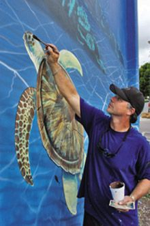 Whaling Walls. Large outdoor murals by artist Wyland, featuring images of life-size sea life. Whaling Walls are created by invitation of the communities, institutions, and building owners of the structures on which they are painted. The one hundredth wall, dedicated in June 2008, marked the completion of Wyland's dream to share his love of marine life with 100 communities around the world.