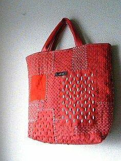 Discover thousands of images about Sashiko embroidery over patchwork Sashiko Embroidery, Japanese Embroidery, Embroidery Thread, Machine Embroidery, Patchwork Bags, Quilted Bag, Boro Stitching, Japanese Textiles, Denim Bag