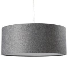 Gray Felt or Linen finish :: custom HUGELY OVERSIZED drum pendant in recessed area of ceiling.